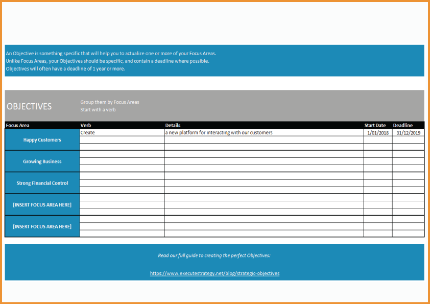 Strategic Objectives Template
